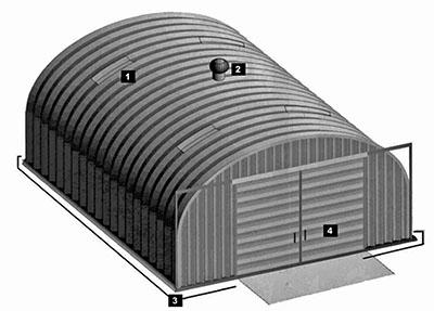 Prefabrykowane hale łukowe - hala łukowa C i K, akcesoria: doświetla, drzwi, bramy, wentylatory i ściany szczytowe.