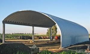 Prefabrykowane hale łukowe - hala łukowa jako samonośny łukowy dach wiaty rolniczej.
