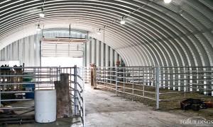 Galeria hal łukowych - prefabrykowane i samonośne stalowe hale łukowe z alucynku (aluzinc) - hala łukowa urządzone jako rolnicza stajnia / obora.